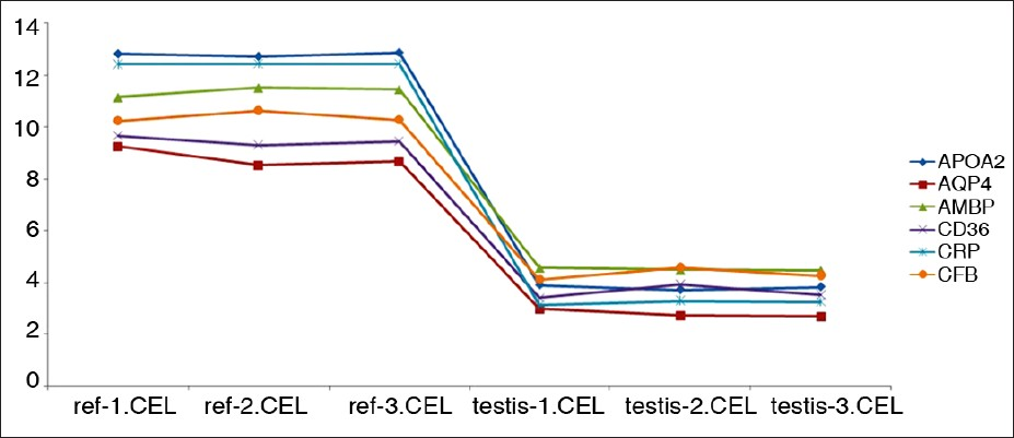 Figure 3: Normalized intensity values of specific down-regulated transcripts in all reference and human testis microarray replicates. Note that reference and testis microarrays are labeled as ref-(n) and testis-(n) respectively