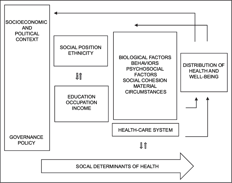 Figure 1: Social determinants of health. Own elaboration from: CSDH. Closing the gap in a generation: Health equity through action on the social determinants of health. Final Report of the Commission on Social Determinants of Health. Geneva, World Health Organization; 2008